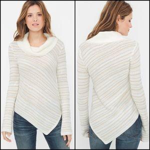 WHBM Asymmetrical Metallic Stripe Cowl Sweater
